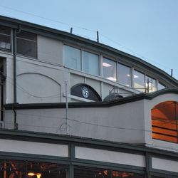 Construction tarps removed from the back end of the new video board control room -