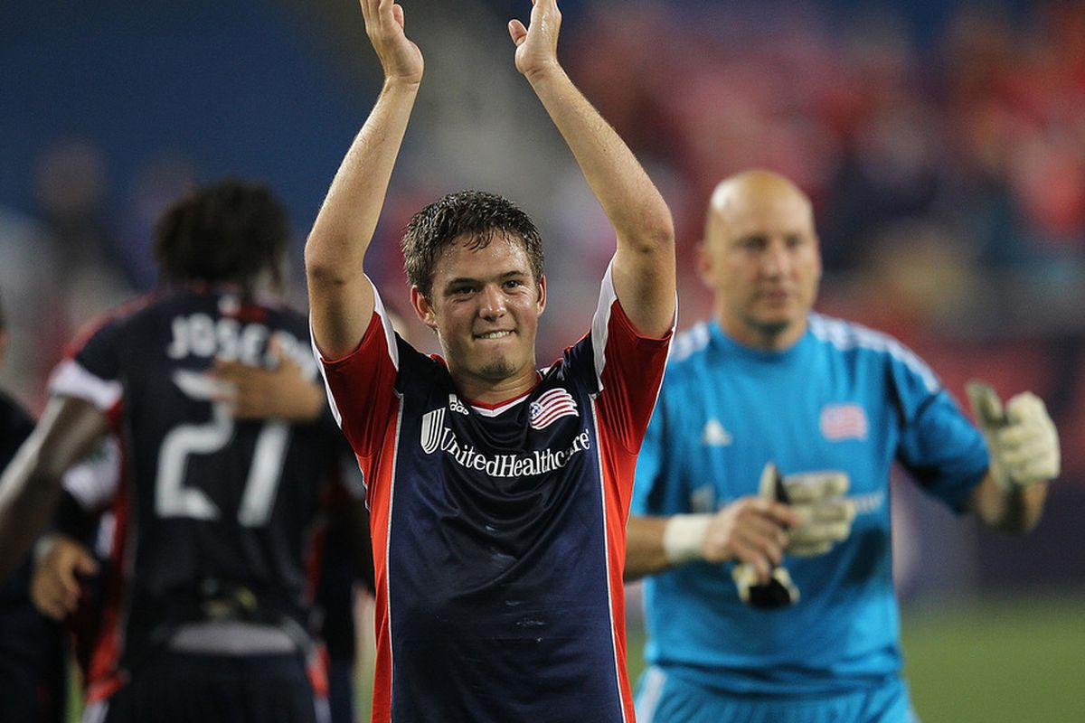 FOXBORO, MA - JUNE 2:  Kelyn Rowe #11 of the New England Revolution celebrates a 2-0 win against the Chicago Fire at Gillette Stadium on June 2, 2012 in Foxboro, Massachusetts. (Photo by Jim Rogash/Getty Images)