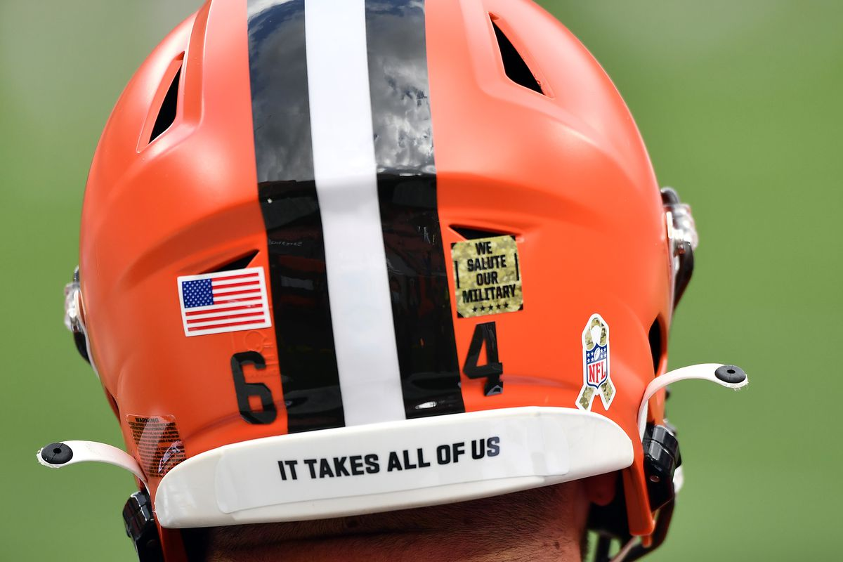 A view of the helmet worn by JC Tretter #64 of the Cleveland Browns prior to the game against the Houston Texans at FirstEnergy Stadium on November 15, 2020 in Cleveland, Ohio.