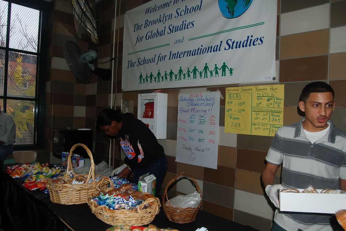 Students manned the bake sale at the Brooklyn School for International Studies.