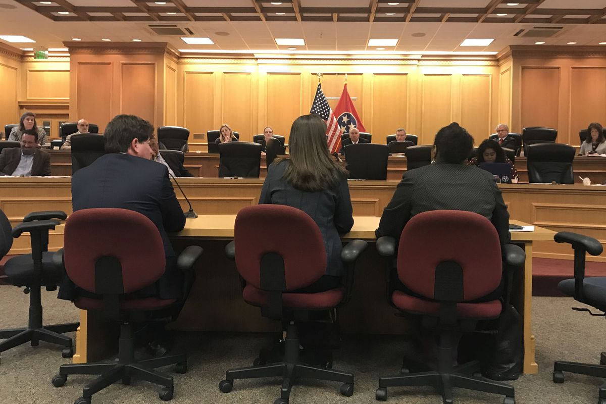 Education Commissioner Candice McQueen (center) testifies before Tennessee lawmakers along with Questar CEO Stephen Lazer and Assistant Education Commissioner Nakia Towns.
