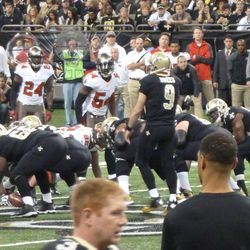 Saints drive toward the end zone on the opening drive.