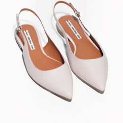Sling-back sandals in light pink, $50 (were $100)