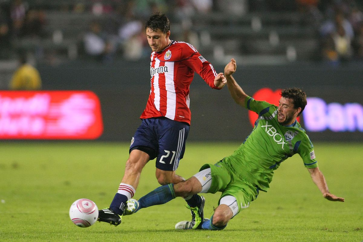 CARSON, CA - OCTOBER 22:  Chivas and Seattle are each seeking to end the week on a good note. (Photo by Victor Decolongon/Getty Images)
