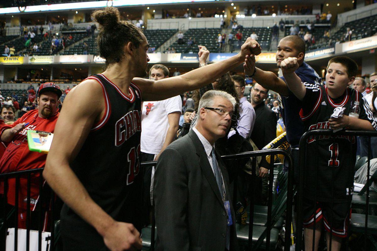 """Watch your head! I gotta fist-bump Bulls fans"" (Mandatory Credit: Brian Spurlock-US PRESSWIRE)"
