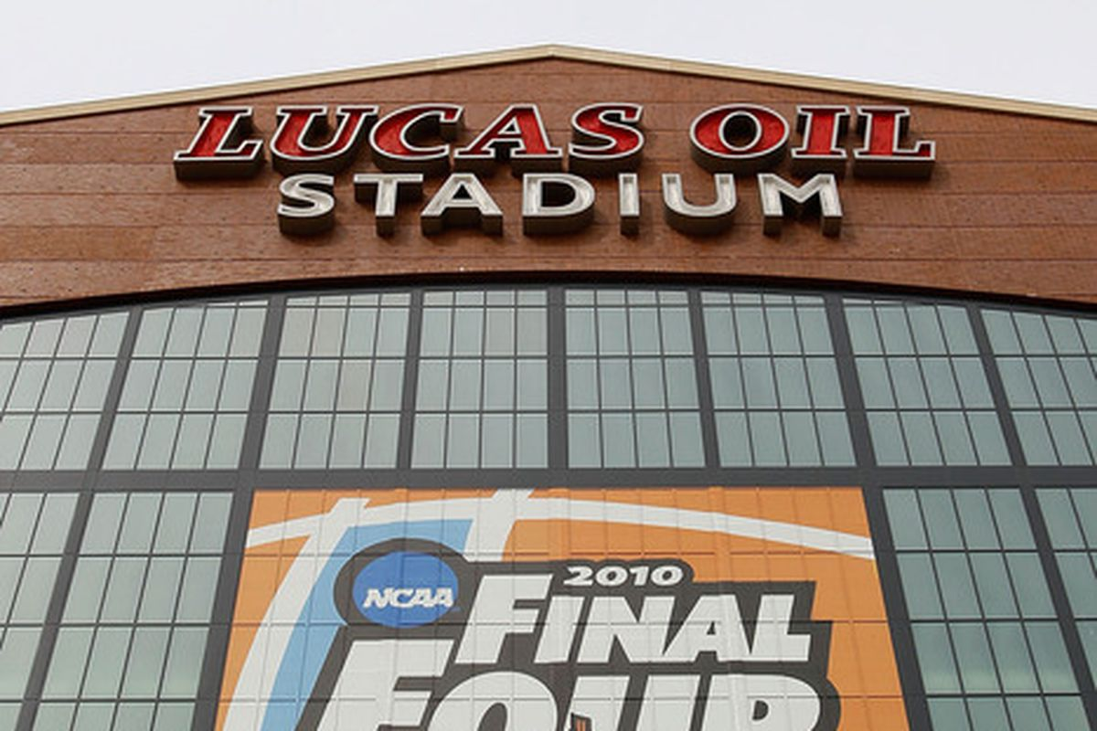 INDIANAPOLIS - APRIL 02:  A general view of the exterior of Lucas Oil Stadium prior to the 2010 Final Four of the NCAA Division I Men's Basketball Tournament on April 2, 2010 in Indianapolis, Indiana.  (Photo by Kevin C. Cox/Getty Images)