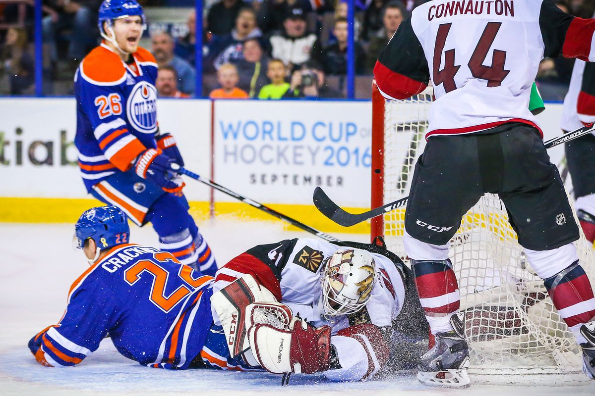 Adam Cracknell crashes into goaltender Mike Smith, Coyotes Nation cried out NOOOO at the same time.