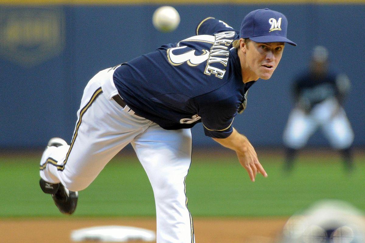 Apr 7, 2012; Milwaukee, WI, USA;  Milwaukee Brewers pitcher Zack Greinke (13) pitched 7 scoreless innings to help beat the St. Louis Cardinals 6-0 at Miller Park. Mandatory Credit: Benny Sieu-US PRESSWIRE