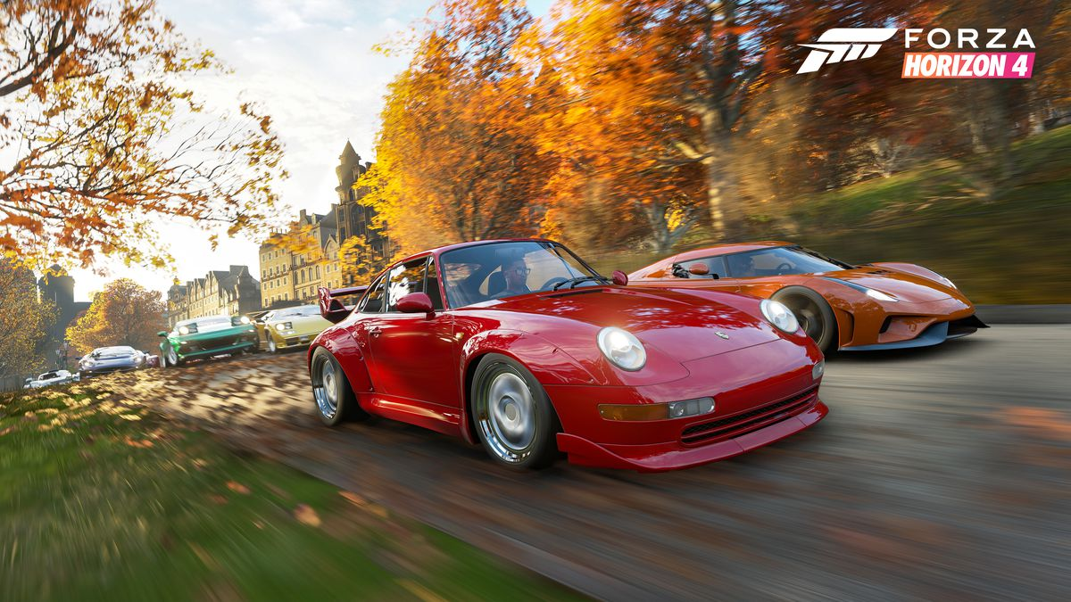 Forza Horizon 4 - cars racing past trees in autumn