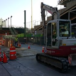 10:39 a.m. Equipment near a new excavation on Waveland -
