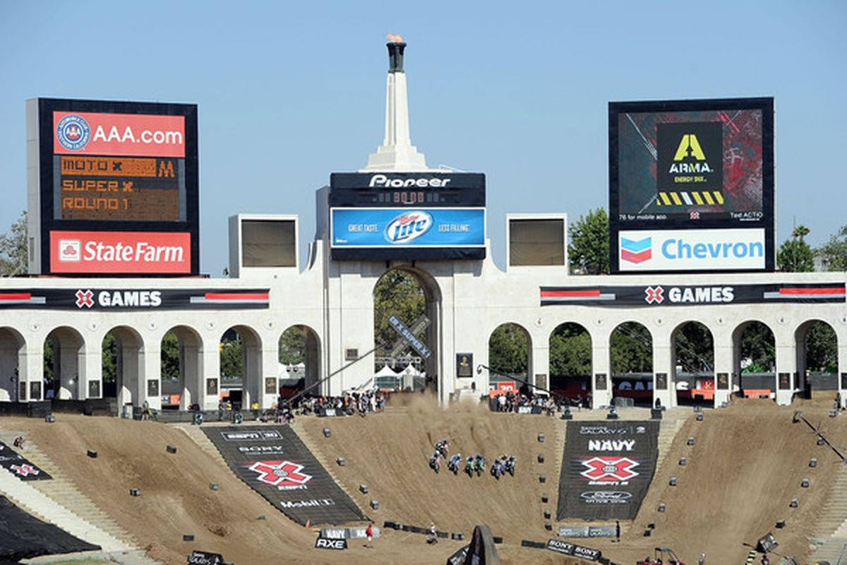 LOS ANGELES CA - JULY 29:  Competitors start in the Moto X super X round 1 during X Games 16 at the LA Coliseum on July 29 2010 in Los Angeles California.  (Photo by Harry How/Getty Images)