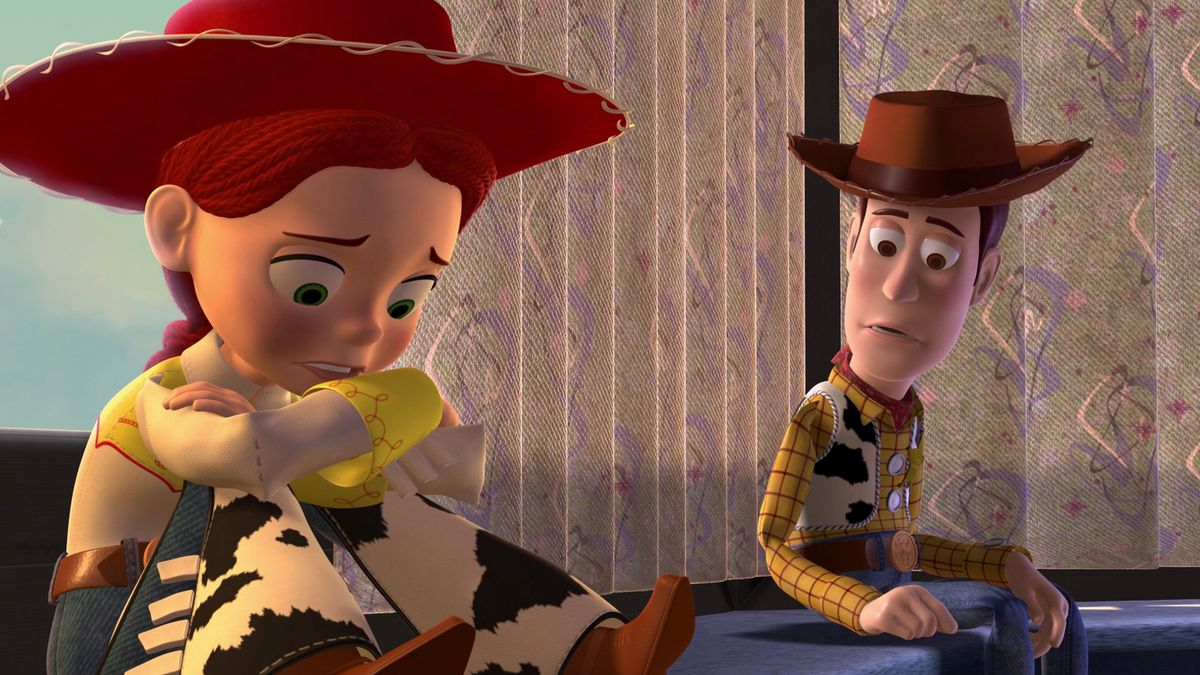 Woody (Tom Hanks) comforts Jessie (Joan Cusack)