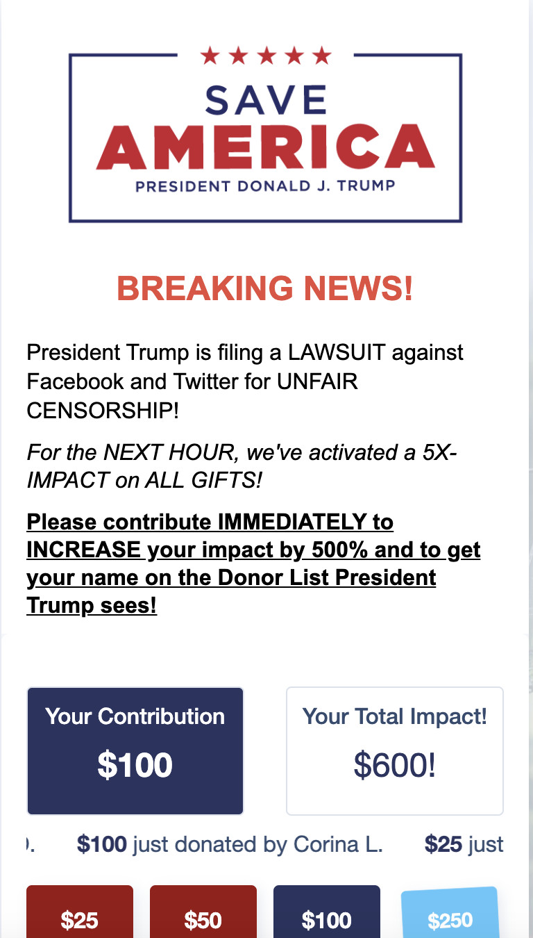 Screen Shot 2021 07 07 at 11.31.36 AM Trump's lawsuits against Facebook, Twitter, and Google are just another fundraising tool