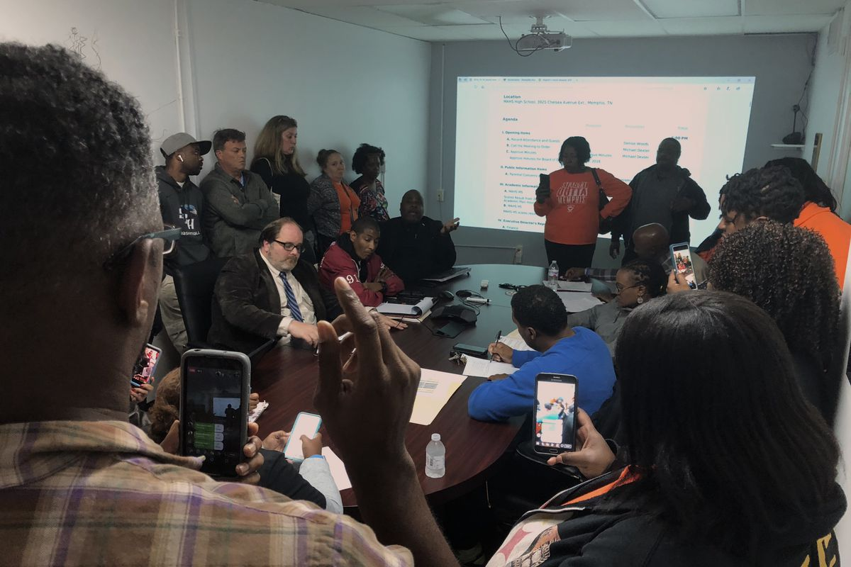 About 20 parents and parent supporters crowded a conference room at Memphis Academy of Health Sciences to demand answers about the high school principal's abrupt departure.