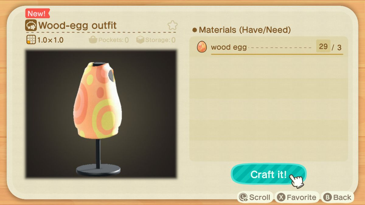 A crafting screen in Animal Crossing showing how to make a Wood-Egg Outfit