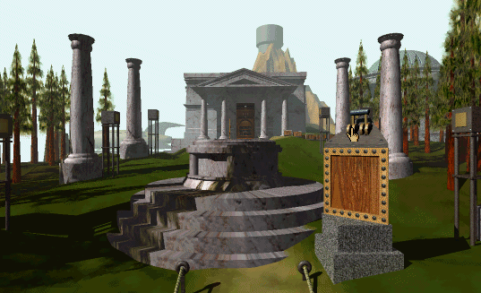 A serene outdoor scene with a temple from Myst