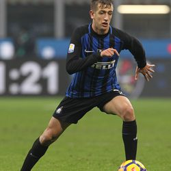 Marco Sala of FC Internazionale in action during the Primavera SuperCup match between FC Internazionale U19 and AS Roma U19 at Stadio Giuseppe Meazza on January 7, 2018 in Milan, Italy.