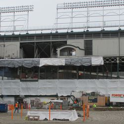 New scaffolding for lattice steel. Note the covers over the side of the park -