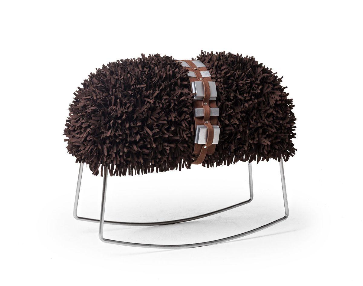 Furry brown rocking stool
