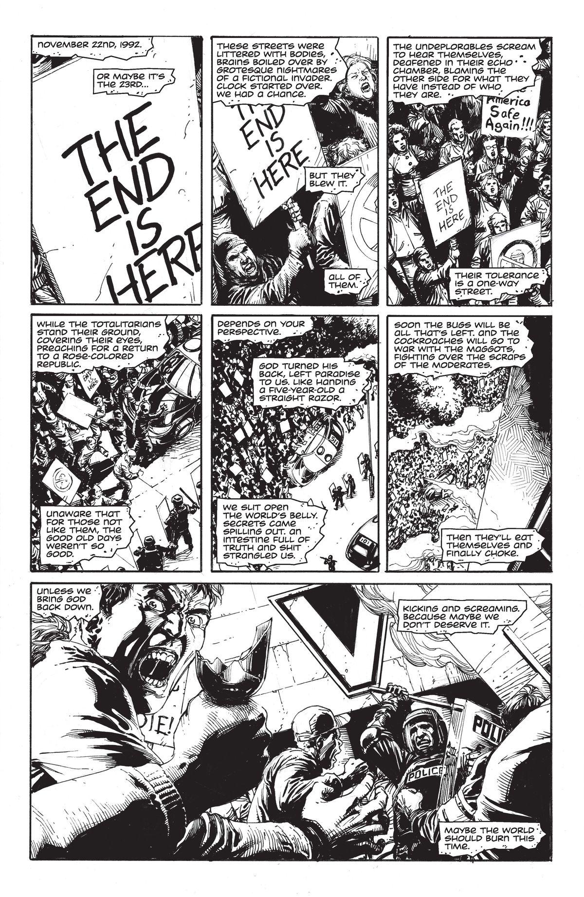 DC Comics' Doomsday Clock #1, page 1, written by Geoff Loeb, drawn by Gary Frank.