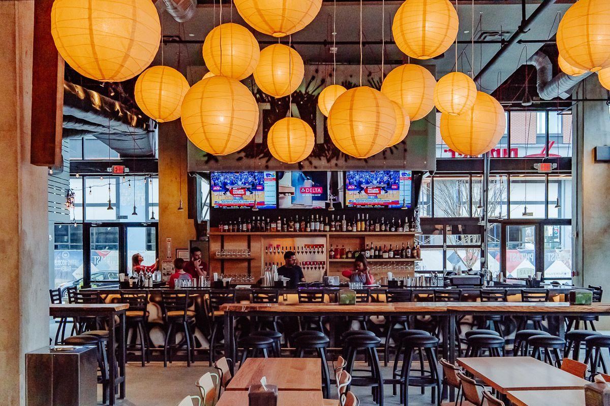 A shot of the bar Taps at Ph'east Food hall at Battery Atlanta