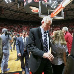 Brigham Young Cougars head coach Dave Rose walks off the floor after the game as Utah and BYU play in the Huntsman Center in Salt Lake City Wednesday, Dec. 2, 2015. Utah won 83-75.