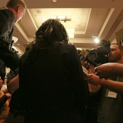 Mia Love, U.S. congresswoman-elect, speaks to reporters at Hilton Salt Lake City Center on Tuesday, Nov. 4, 2014, in Salt Lake City.