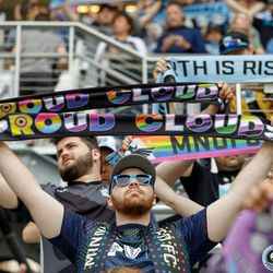June 2, 2019 - Saint Paul, Minnesota, United States - Supporters in the Wonderwall hold up their scarves as the Loons step out onto the field prior to the Minnesota United vs Philadelphia Union match at Allianz Field.