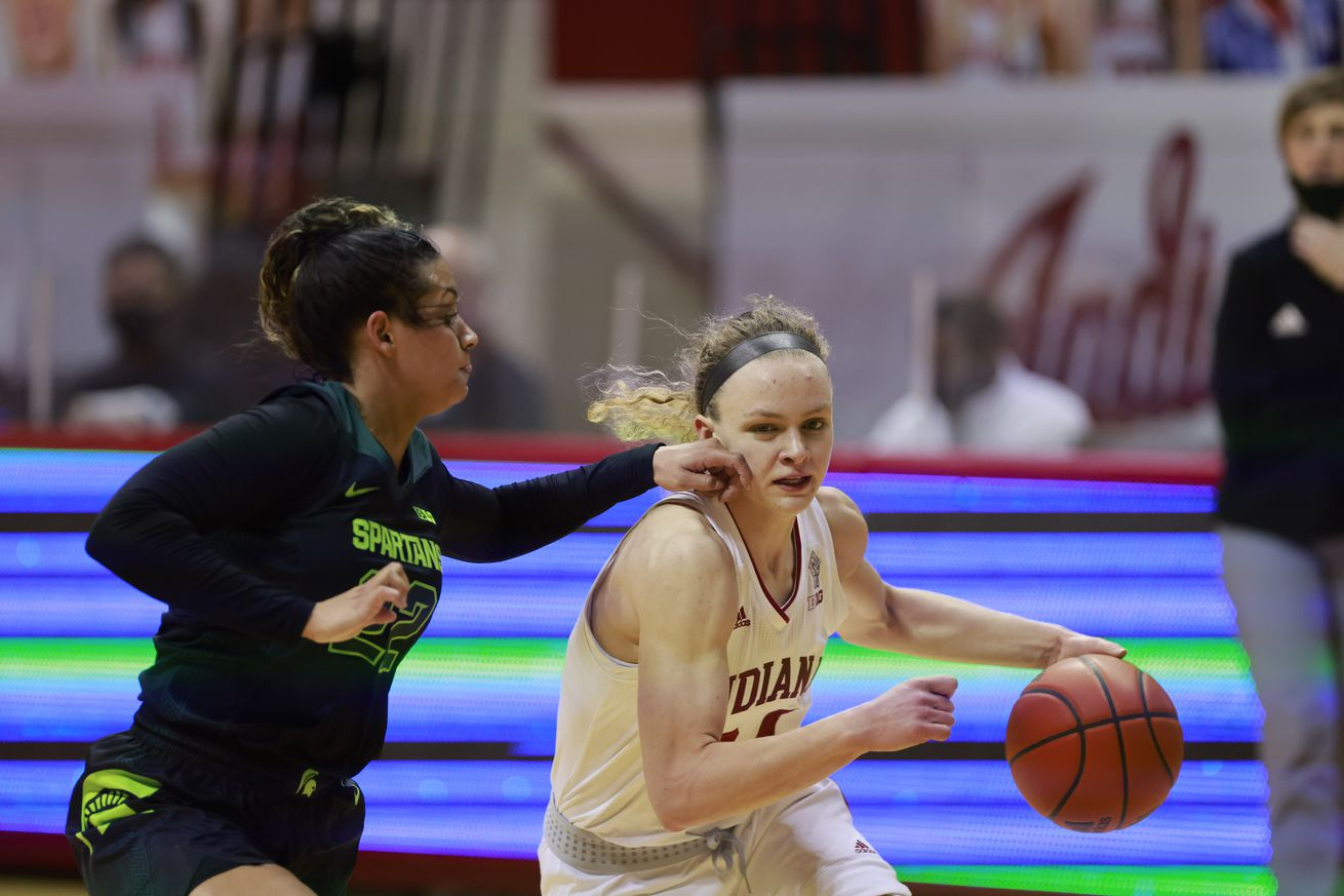 Indiana University's Grace Berger (34) plays against...
