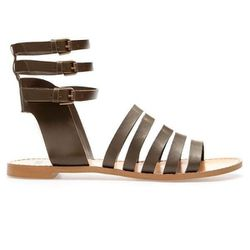 "<b>Zara</b> <a href=""http://www.zara.com/us/en/woman/shoes/strappy-flat-sandals-c434549p1182004.html"">Strappy Flat Sandals</a>, $$49.99 (on sale from $89.90)"
