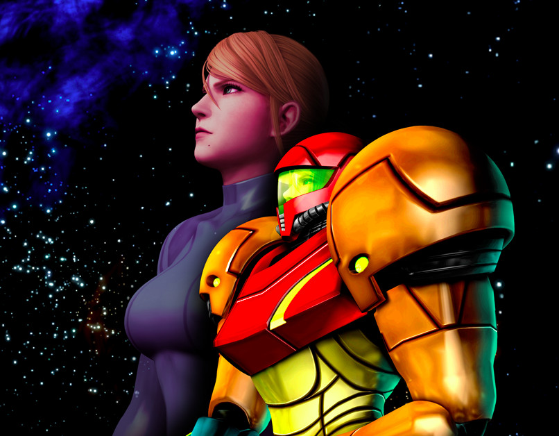 Artwork of Samus in and out of her Power Suit from Metroid: Other M