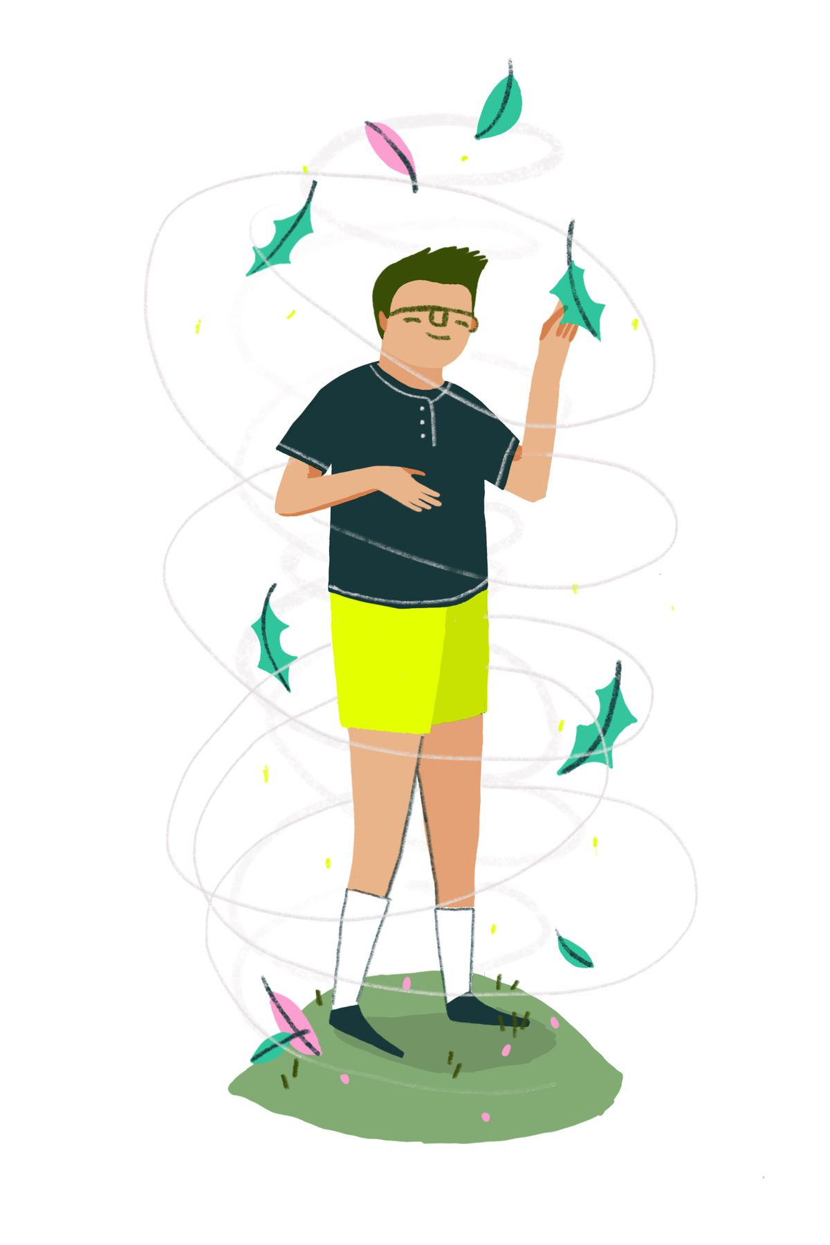 A smiling child in yellow shorts surrounded by a gust of wind and leaves. He's playfully grabbing a leaf from the air. Illustration.