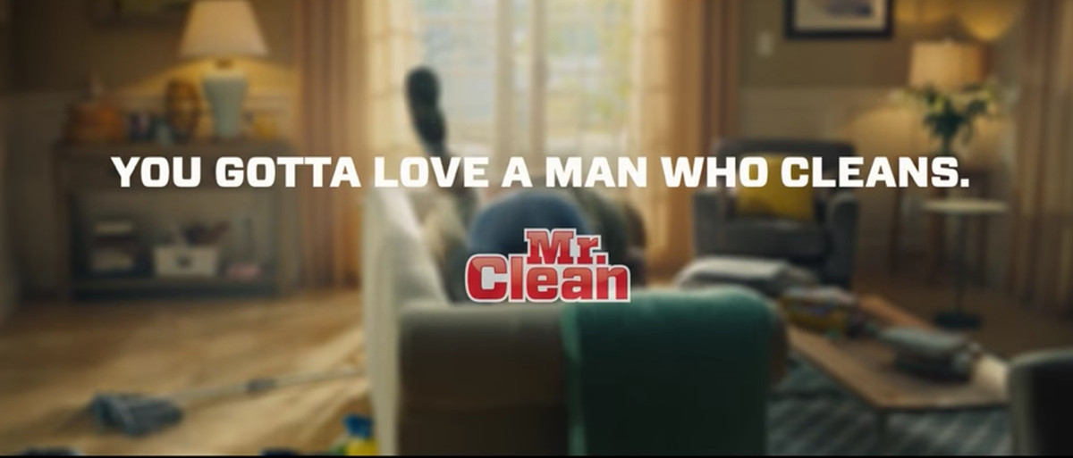 as the commercial ends we realize the real mr clean was there all along inside of her husband its the cleaning that really did the trick