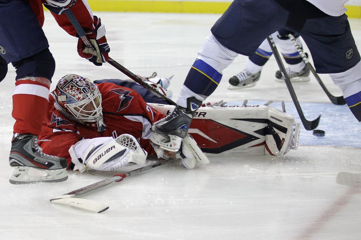 WASHINGTON, DC - NOVEMBER 29: Tomas Vokoun #29 of the Washington Capitals is scored on by the St. Louis Blues during the second period at Verizon Center on November 29, 2011 in Washington, DC.  (Photo by Rob Carr/Getty Images)