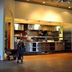 The exhibition kitchen at Honey Salt.