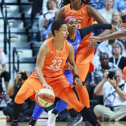 The Dallas Wings take on the Connecticut Sun in a WNBA game at Mohegan Sun Arena in Uncasville, CT on August 14, 2018.