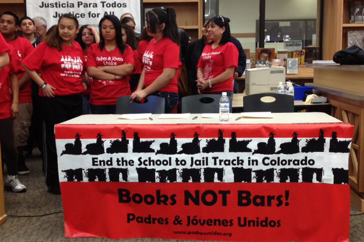 Student leaders with Padres & Jovenes Unidos attend a press conference in 2013 regarding a new intergovernmental agreement outlining the role of resource officers in Denver schools.