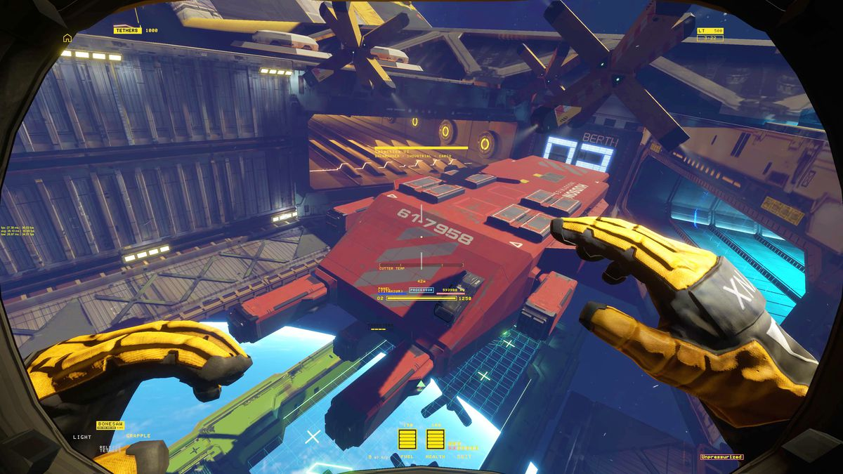 a character floats above a spaceship in Hardspace: Shipbreaker