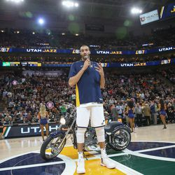 Utah Jazz center Rudy Gobert (27) thanks the fans before the game against the Golden State Warriors at Vivint Arena in Salt Lake City on Tuesday, April 10, 2018.