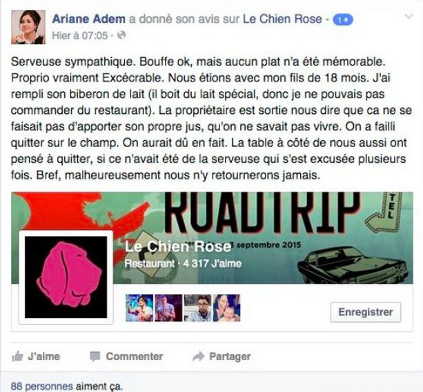 Screengrab from Le Chien Rose's Facebook page