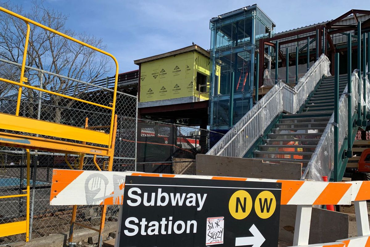 Ongoing elevator installation at the Astoria Boulevard stop in Queens.