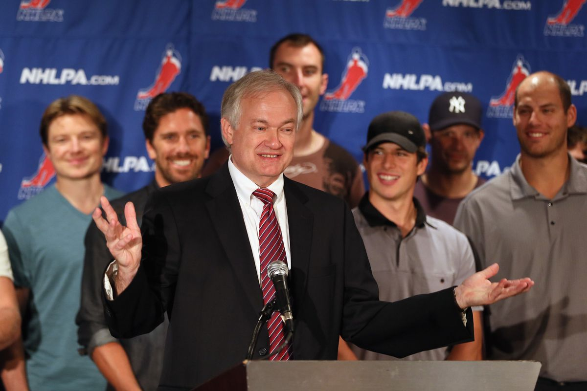 NEW YORK, NY - SEPTEMBER 13:  Don Fehr, executive director of the National Hockey League Players Association meets with the media at Marriott Marquis Times Square on September 13, 2012 in New York City.  (Photo by Bruce Bennett/Getty Images)