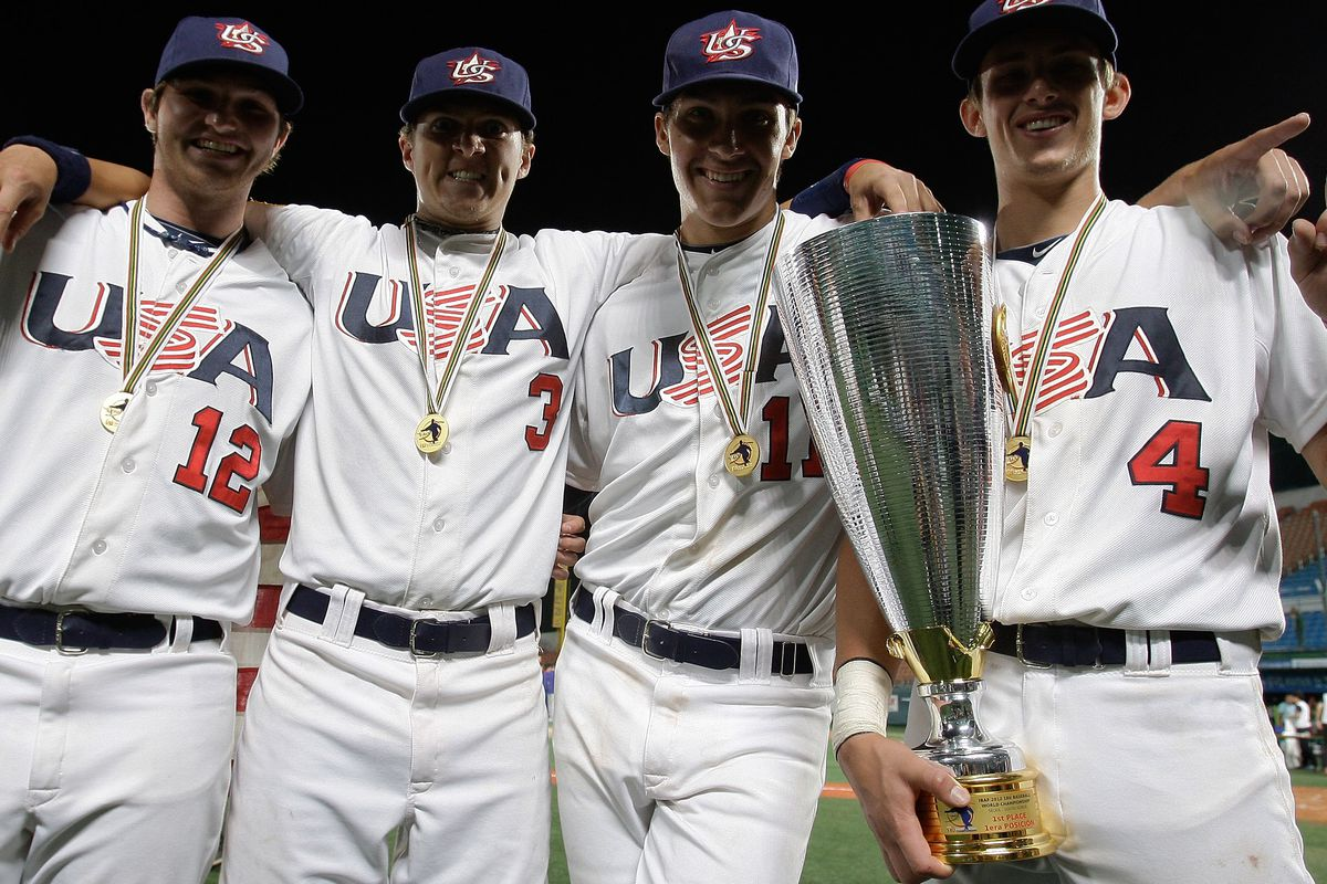 Our No. 16 prospect, Carson Sands, is second from right in this USA Baseball photo