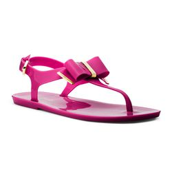 """If the thought of mud squishing between your toes doesn't make you squeamish, these Michael Kors jelly thongs can see you through wine tasting and your summer vacation. $69 at <a href=""""http://www.michaelkors.com/p/MICHAEL-Michael-Kors-Michael-Kors-Kayden-"""