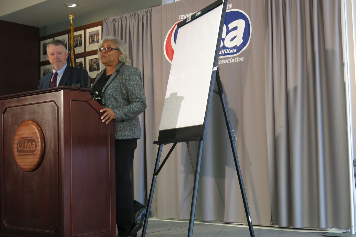 Tennessee Education Association attorney Rick Colbert and president Barbara Gray announce a lawsuit filed Thursday in Nashville over the state's measurement tool for evaluating teacher performance and awarding bonuses.