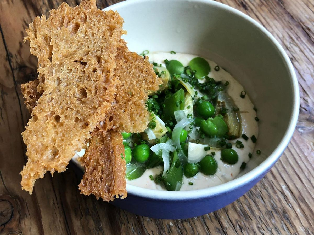 Caramelized onion dip with spring vegetables