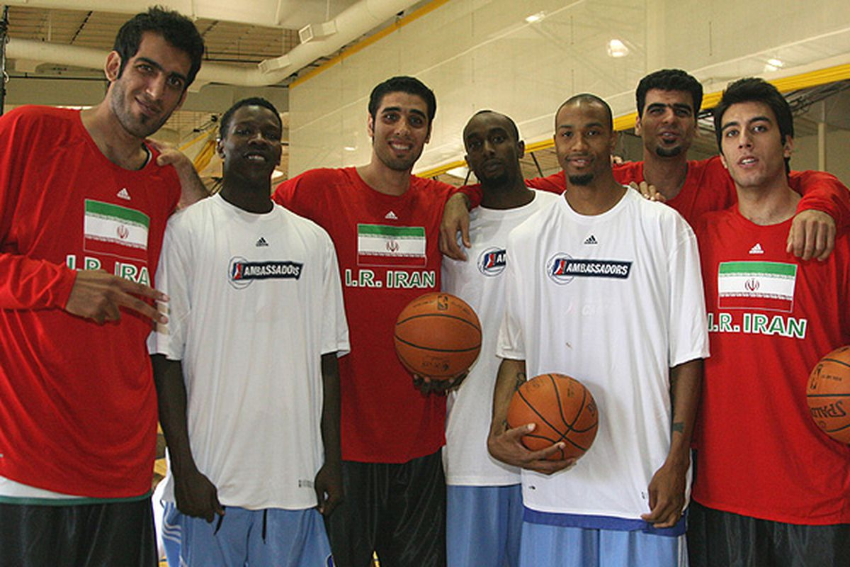 <em>The Rocky Mountain Revue - Where Fringe Talent <strike>Happens</strike> Happened</em>.  From Left to Right: Hamed Haddadi, Mo Charlo, one Iranian dude, two fringy D-Leaguers, and two more Iranian ballers.