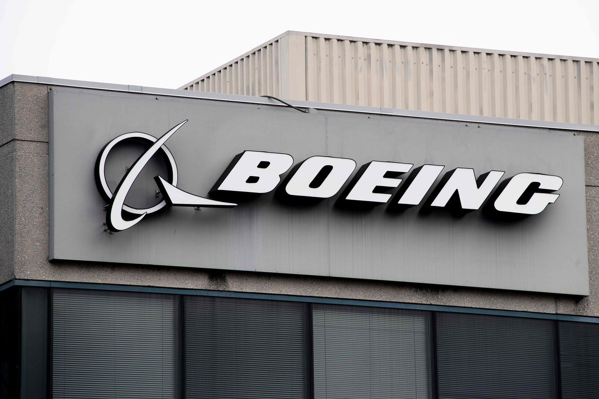 The Boeing Company logo is seen on a building in Annapolis Junction, Maryland.