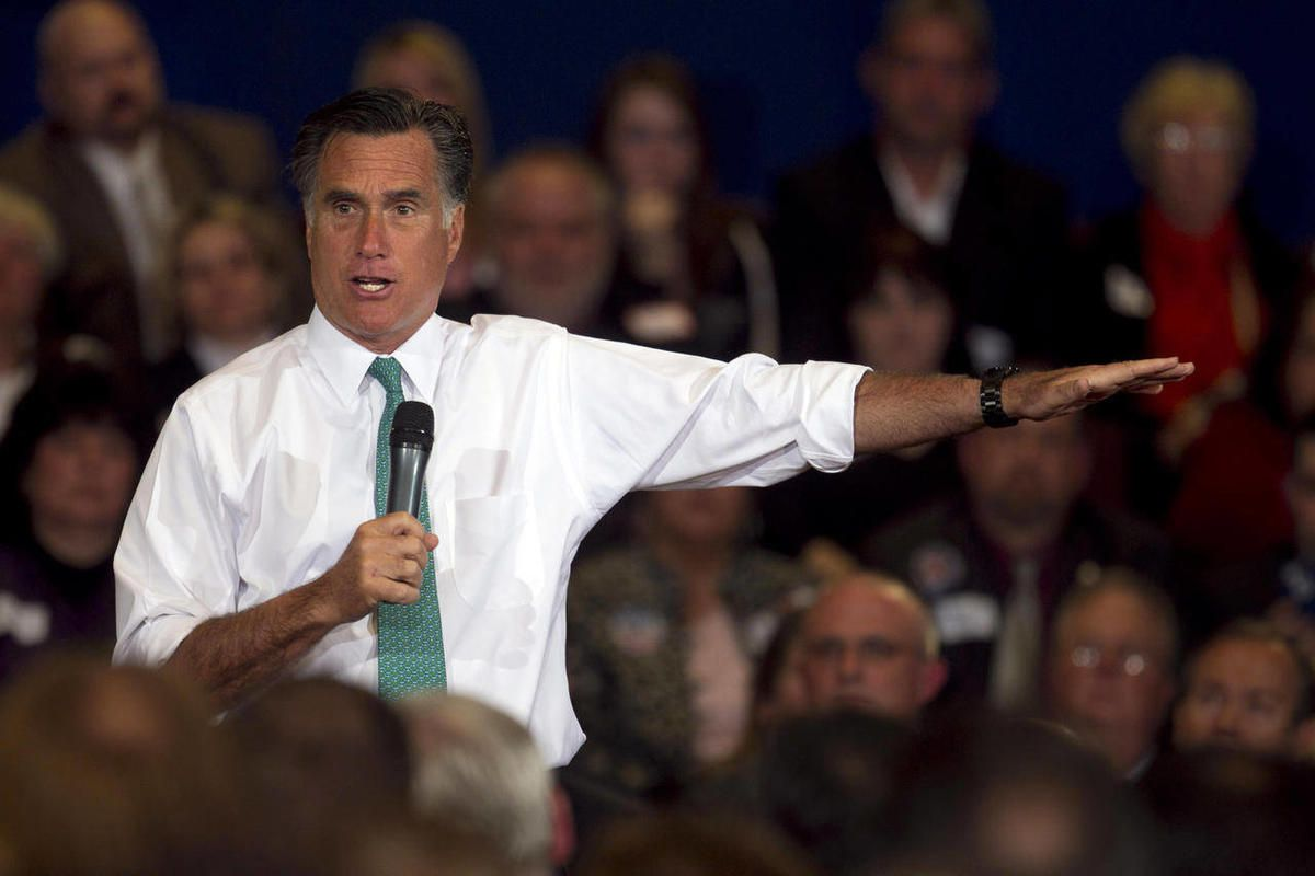 FILE - In this April 11, 2012, file photo, Republican presidential candidate, former Massachusetts Gov. Mitt Romney, speaks to a crowd during a campaign event, in Warwick, R.I. Romney wants the United States to get much tougher with Iran and end what a to