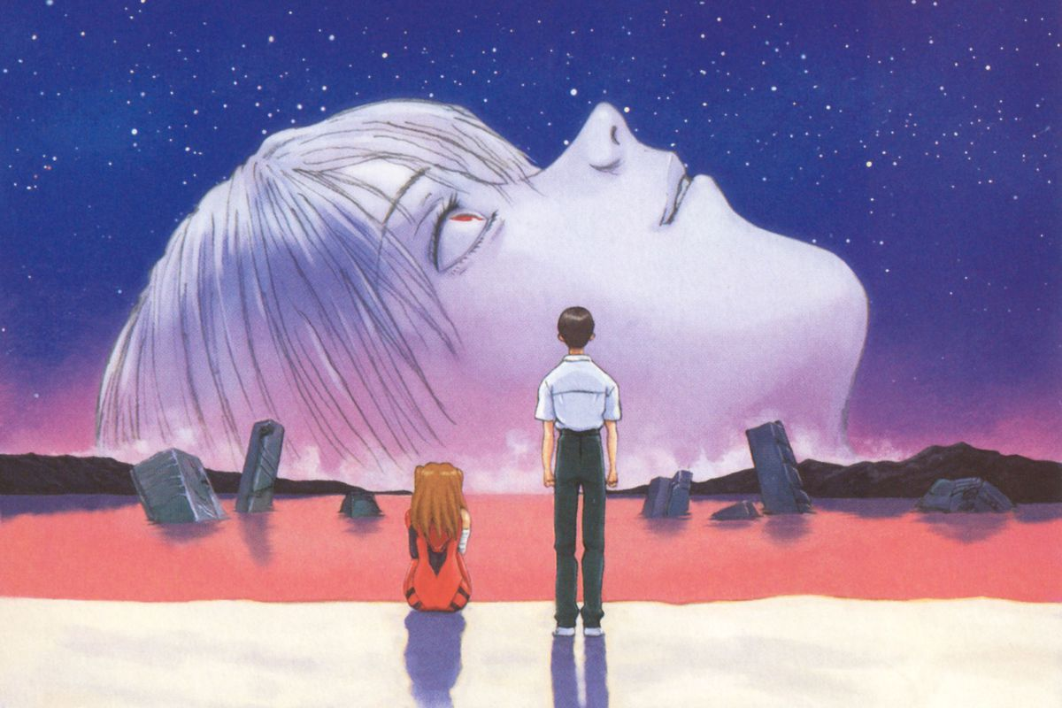 Poster for The End of Evangelion (1997.) Main characters Shinji and Asuka look at an apocalypse dominated by Rei's face.